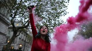 Protesters light flares outside Downing Street over tuition fees - Video