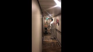 Crew members spray ship after 200 passengers fall ill in gastro outbreak - Video