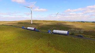 Drone footage shows how wind turbines are transported - Video