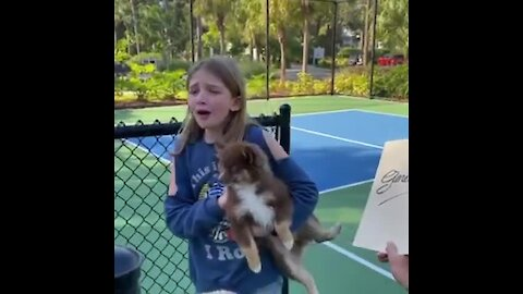 Little Girl Cries Tears Of Joy For New Puppy Surprise