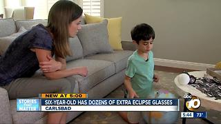 Carlsbad six-year-old has dozens of extra eclipse glasses - Video