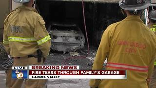 Family flees home after fire rips through garage - Video