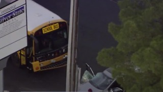School bus involved in crash near Cameron, Nevso - Video
