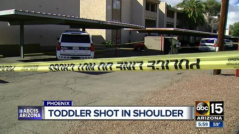 Toddler shot in shoulder