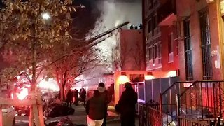 Three Firefighters, One Officer Injured During Crown Heights Blaze - Video
