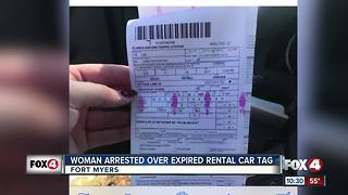 Woman Pulled Over for Expired Rental Car Tag - Video