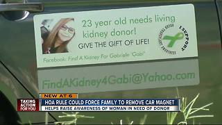 HOA asks 23-year-old woman to take down kidney donor car magnet - Video