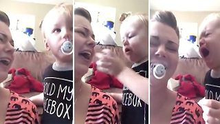 Adorable Little Tot Has Hard Time Parting With Dummy