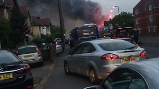 Fireworks Explode From Burning Southampton Factory - Video