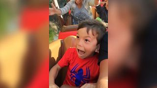 Boy's First Rollercoaster Ride - Video