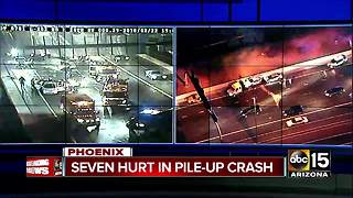 Seven people hurt in crash on Loop 202 in Phoenix - Video