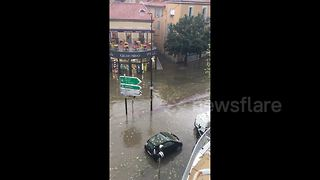 Streets in south of France flooded after heavy storms - Video