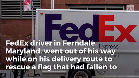 Woman Posts Security Cam Footage of Marine Vet FedEx Driver Rescuing Her Flag