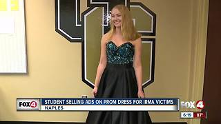 Selling ads on her prom dress