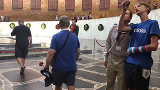 England Fans Lay Flowers at Volgograd World War II Memorial - Video