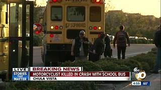 Motorcyclist killed in crash with school bus - Video