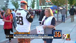 Cincy and Texas fans unite for hurricane victims - Video
