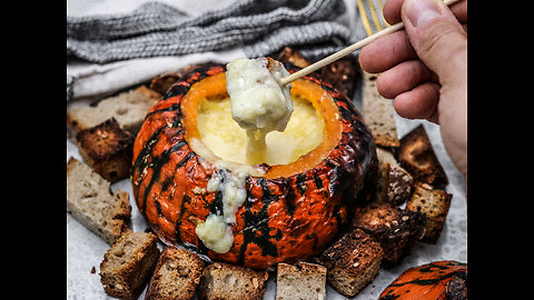Cheese fondue recipe inside pumpkin