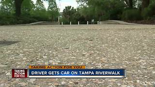 Video shows car driving on Tampa's Riverwalk