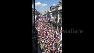 Aerial view shows thousands at anti-Trump women's march