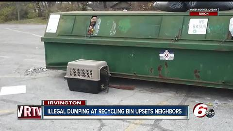 Irvington neighbors concerned that illegal dumping at recycling bin will keep property from being sold