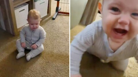 Hilarious baby snorts when he gets frustrated