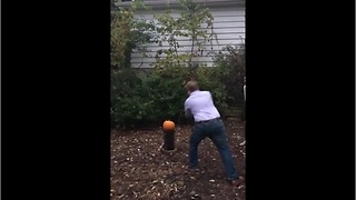 Awesome pumpkin smashing baby gender reveal - Video