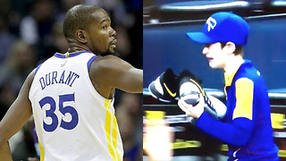 Kevin Durant Makes Young Warriors Fan CRY - Video