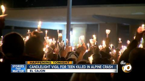 Candlelight vigil for teen killed in Alpine crash