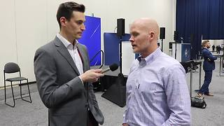 Bills HC Sean McDermott with 7ABC's Joe Buscaglia at the 2018 NFL Combine