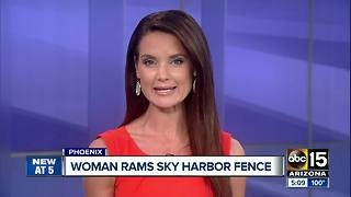 Woman accused of ramming into Sky Harbor fence - Video