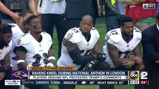 About two dozen players, including Ravens, kneel for national anthem in London - Video
