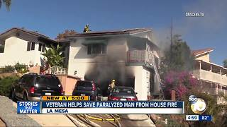 Veteran helps save paralyzed man from house fire - Video