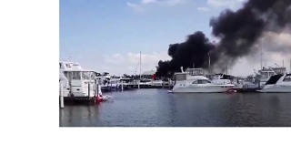 Black Smoke Billows as Boats Catch Fire at Cedar Point Marina - Video