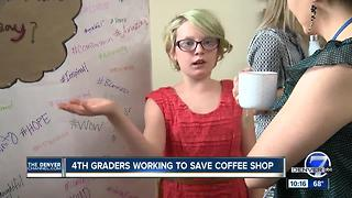 Fourth graders working to save coffee shop - Video