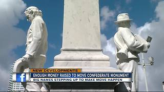 Donations from public figures, sports teams and community exceed goal to relocate Confederate statue