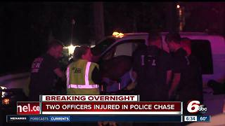 Suspect drives into police cars during chase, officers hospitalized - Video