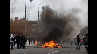 Fires Lit During Student Protests in Toulouse, Southern France