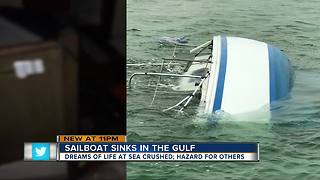 Sailboat sinks in the Gulf - Video