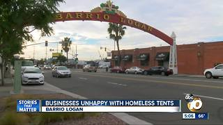 Businesses unhappy with homeless tents