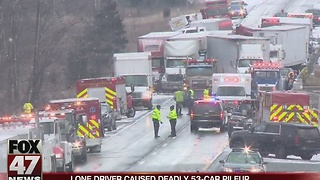 Single driver caused fatal I-96 pileup last month - Video