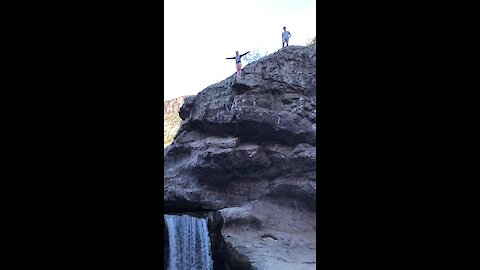 Double flip cliff dive in secret Arizona canyon