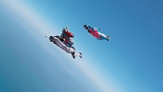 Pals Form Human Flying Carpet During Rodeo Skydive