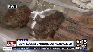 Phoenix Confederate monument vandalized - Video