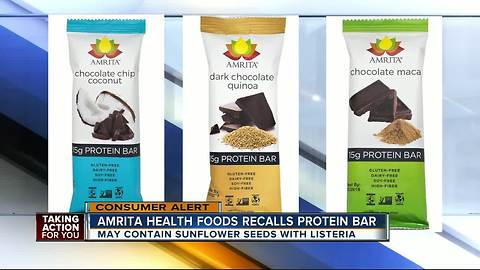 Amrita brand protein bars recalled because of possible Listeria contamination