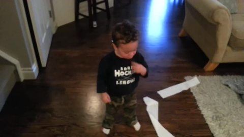 Dad Confronts Toddler Over Mess, Boy Adorably Keeps Denying It Was Him