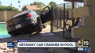 Getaway car crashes in pool - Video