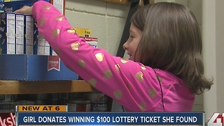 Student gives winning lotto ticket to food drive - Video