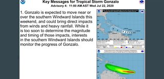 Tropical storm Gonzalo forms in the Atlantic