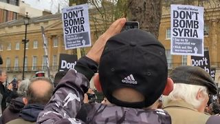 Protesters Chant Against Possible Airstrikes in Syria Outside Downing Street - Video